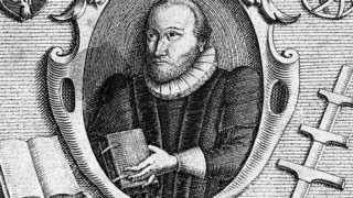 Engraving by C. Le Blon of English scholar Robert Burton (1577 - 1640)