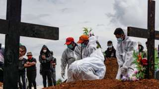 People in PPE bury victims of Covid in Indonesia