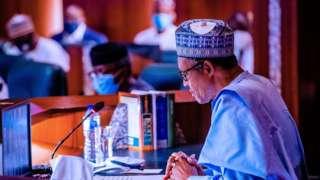 President Muhammadu Buhari for di NEC meeting of di APC