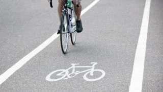 Bike riding on bike path