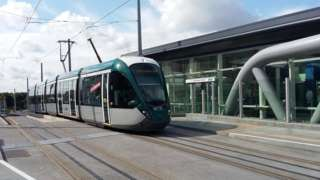 A library picture of a tram in Nottingham