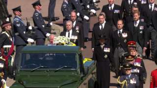 The procession during the Duke of Edinburgh's funeral at Windsor Castle