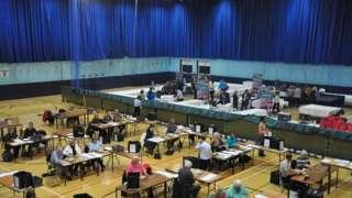 Election count in Sir John Loveridge hall