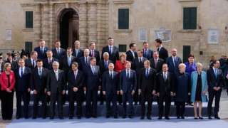 Theresa May with other EU leaders in Malta earlier this month