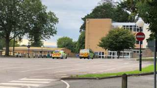 Police at the scene at St Edward's prep school