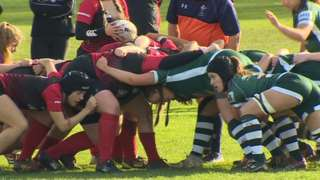 A game of women's rugby at Swansea University