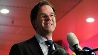 Mark Rutte reacts to exit polls in the Netherlands general election in The Hague, Netherlands, March 17, 2021