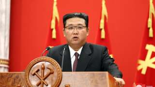 """A photo released by the official North Korean Central News Agency (KCNA) shows Kim Jong-Un, general secretary of the Worker""""s Party of Korea, giving a speech during a commemorative lecture organized by the Central Committee of the WPK, celebrating a significant founding anniversary of the Party, at the office building of the Party""""s Central Committee in Pyongyang, North Korea, 10 October 2021 (issued 11 October 2021)."""