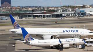 United Airlines planes are seen at Newark International Airport in New Jersey