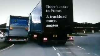 Van and lorry nearly crash