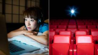 Woman streaming a film and an empty cinema
