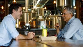 PM Justin Trudeau and Barack Obama share a beer