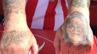 A Sheffield United fan Chris Wilder tattoo