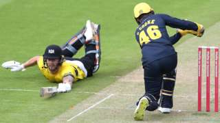 Gloucestershire's Chris Dent makes his ground