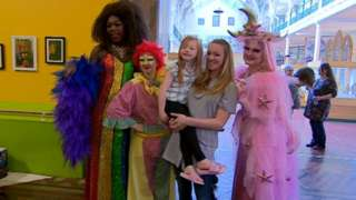 Drag Queens Yshee Black, Patrick and Lacey Lou with children