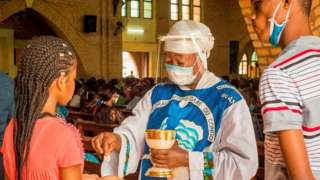 Communion in Kinshasa, DR Congo, 16 Aug 20