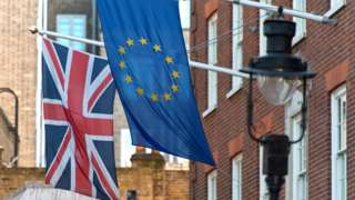 UK and European Union flags flying outside the Conservative party's offices in London