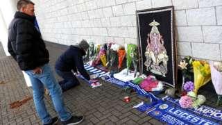 Tributes outside King Power Stadium