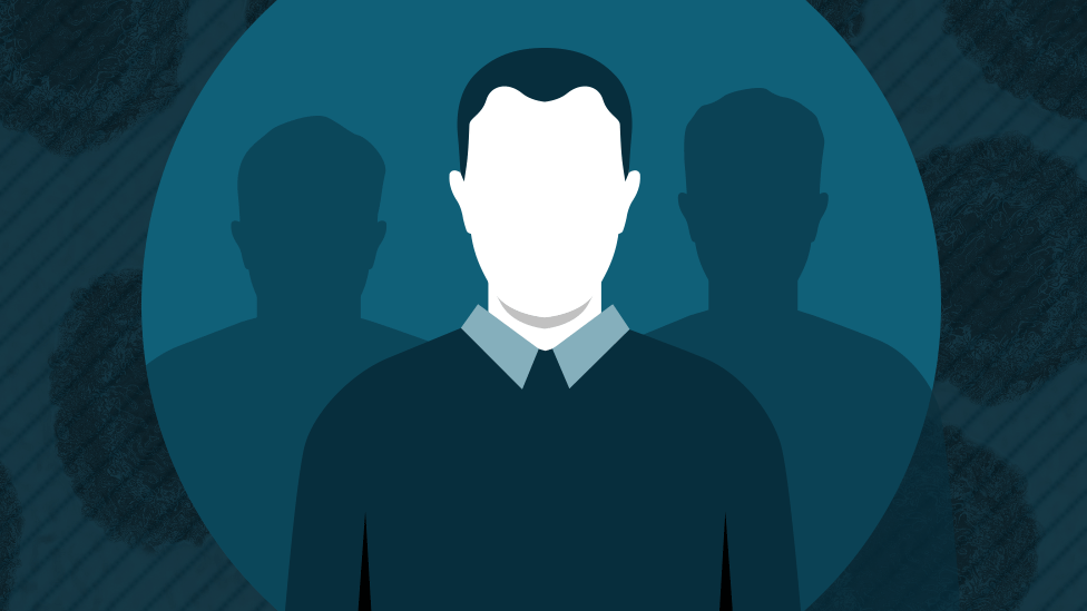 Graphic of a faceless man