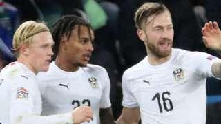 Austria celebrate Valentino Lazaro's late winner against Northern Ireland