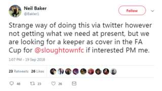 Neil Baker tweet, in which he expresses Slough's need for a replacement goalkeeper