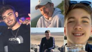 Corey Owen, left, and friends Jordan Rawlings, Ryan Nelson and Matthew Parke were killed in the crash in August