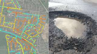 Satellite images showing the inspection of roads and a pothole (right)