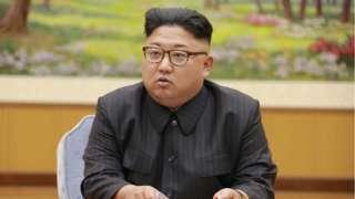 Kim Jong-un at a meeting in 2017