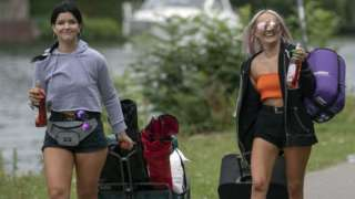 Two girls with camping gear