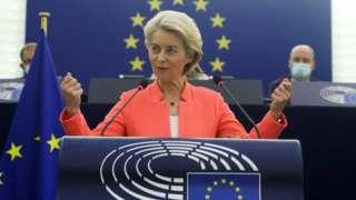 European Commission President Ursula von der Leyen delivers a speech