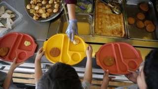 Children with school dinners