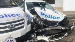 The damaged police car