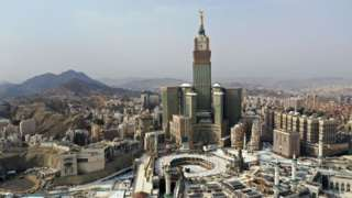 An aerial view of the holy city of Mecca
