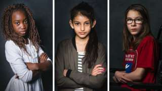 Composite image of three girls with arms crossed