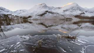 Snow on the hills around Buttermere in the Lake District