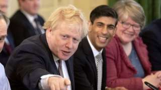 Therese Coffey, Rishi Sunak and Boris Johnson during a cabinet meeting in February
