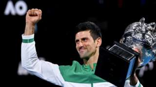Novak Djokovic celebrates winning the 2021 Australian Open