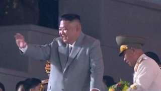 조선중앙텔레비전이 보도한 열병식 장면