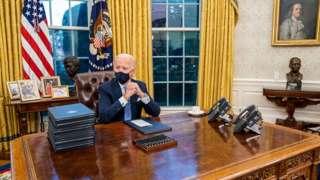 Joe Biden in the Oval office on 20 January 2021