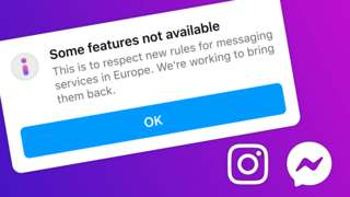 Facebook Messenger pop-up that says: Some features not available
