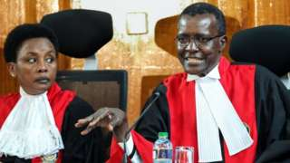 Deputy Chief Justice Philomena Mwilu and Chief Justice David Maraga look on during a pre-trial conference on petitions seeking to nullify the outcome of the repeated presidential poll held on 26 October 2017