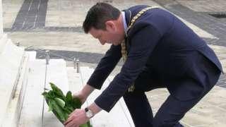 Sinn Féin Lord Mayor John Finucane lays a laurel wreath at Belfast City Hall, to mark anniversary of Battle of Somme
