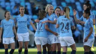 Manchester City Women celebrate the goal