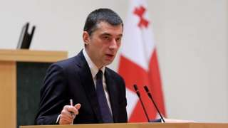 Georgian Prime Minister Giorgi Gakharia gives a speech (file photo)