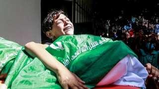 Pemakaman warga Palestina yang meninggal akibat serangan Israel.