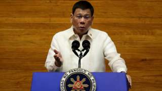 President Duterte speaking during a state of the nation address.