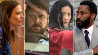 Left-right: Eva Green in Proxima, Russell Crowe in Unhinged, Liu Yifei in Mulan and John David Washington in Tenet