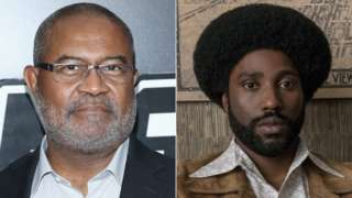Ron Stallworth in person and as he is played by John David Washington in BlacKkKlansman