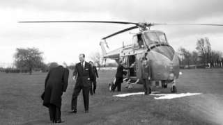 Celebrations for 400 years since the birth of William Shakespeare in Stratford-upon-Avon. Prince Philip, Duke of Edinburgh arrives by helicopter, 23rd April 1964.