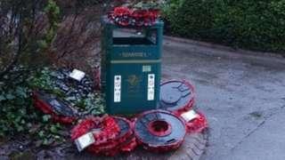 Wreaths on the bin